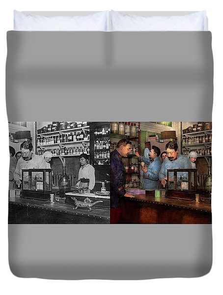 Duvet Cover featuring the photograph Pharmacy - The Dispensing Chemist 1918 - Side By Side by Mike Savad