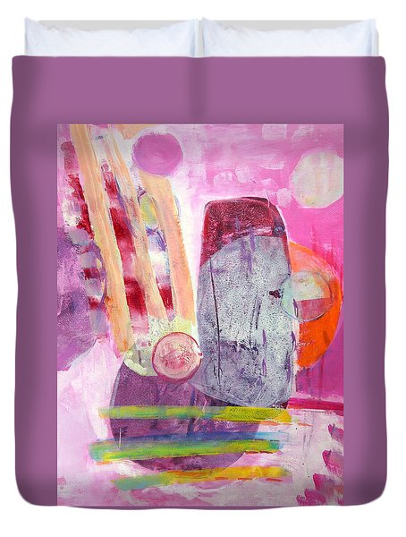 Duvet Cover featuring the painting Phases by Mary Schiros