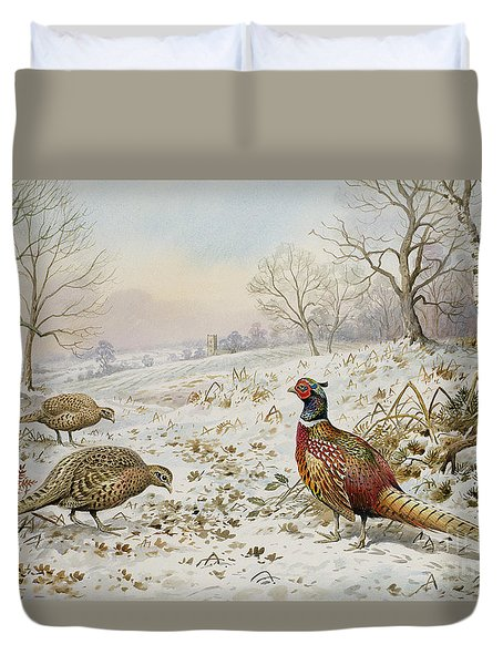 Pheasant And Partridges In A Snowy Landscape Duvet Cover by Carl Donner