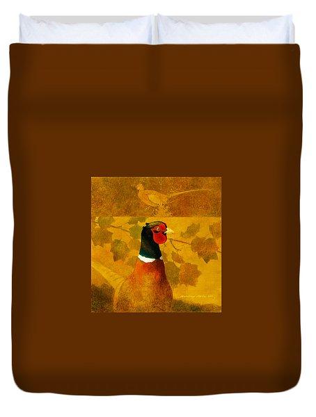 Pheasant In Yellow Duvet Cover