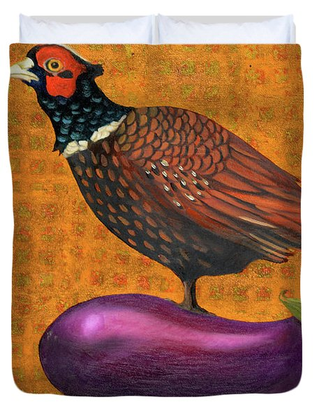 Pheasant On An Eggplant Duvet Cover by Leah Saulnier The Painting Maniac
