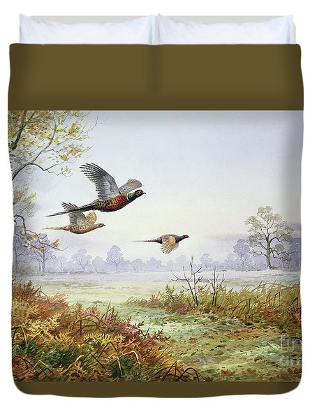 Pheasants In Flight  Duvet Cover by Carl Donner