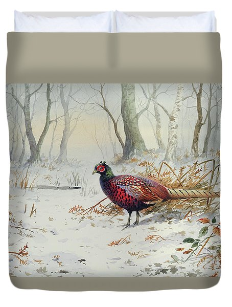 Pheasants In Snow Duvet Cover by Carl Donner