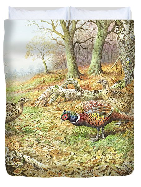 Pheasants With Blue Tits Duvet Cover