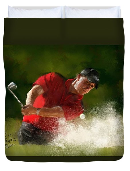 Phil Mickelson - Lefty In Action Duvet Cover by Colleen Taylor