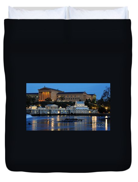 Philadelphia Art Museum And Fairmount Water Works Duvet Cover by Gary Whitton