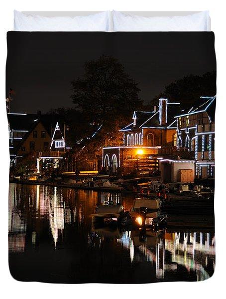 Philadelphia Boathouse Row At Night Duvet Cover by Gary Whitton