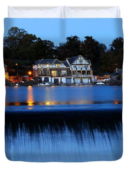 Philadelphia Boathouse Row At Twilight Duvet Cover