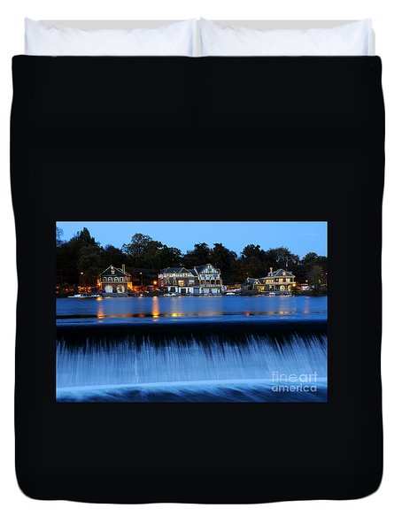 Philadelphia Boathouse Row At Twilight Duvet Cover by Gary Whitton