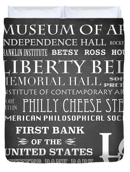 Philadelphia Famous Landmarks Duvet Cover