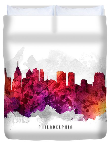 Philadelphia Pennsylvania Cityscape 14 Duvet Cover by Aged Pixel