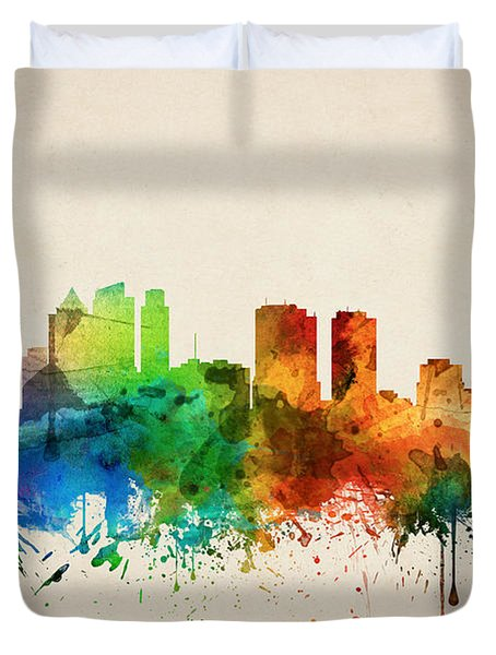 Philadelphia Pennsylvania Skyline 05 Duvet Cover by Aged Pixel