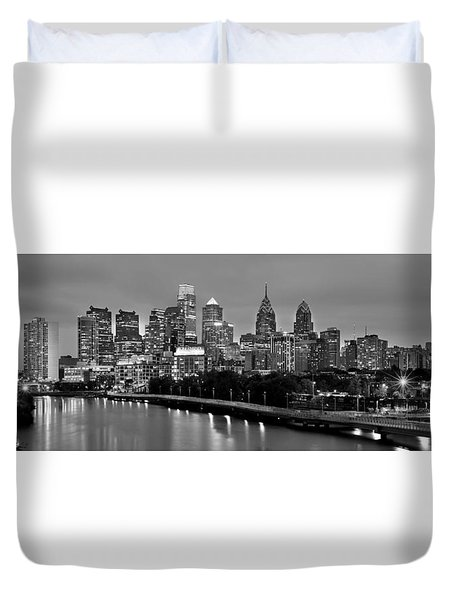 Duvet Cover featuring the photograph Philadelphia Philly Skyline At Dusk From Near South Bw Black And White Panorama by Jon Holiday