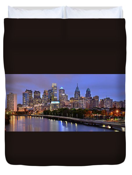 Duvet Cover featuring the photograph Philadelphia Philly Skyline At Dusk From Near South Color Panorama by Jon Holiday