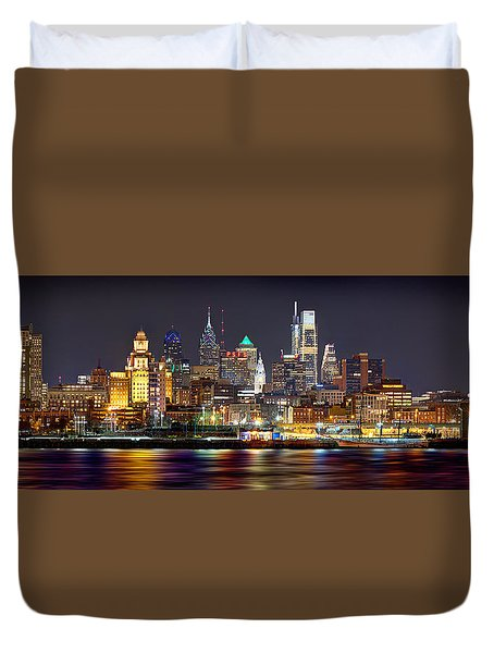 Philadelphia Philly Skyline At Night From East Color Duvet Cover