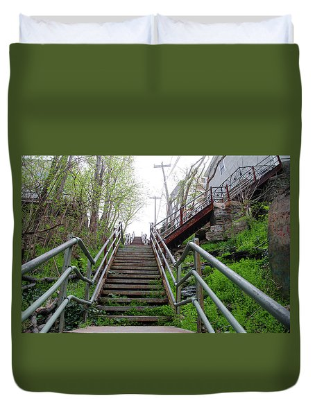 Duvet Cover featuring the photograph Philadelphia - Roxborough Avenue Steps by Bill Cannon