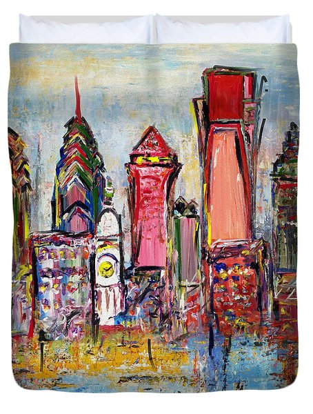 Philadelphia Skyline 232 1 Duvet Cover by Mawra Tahreem