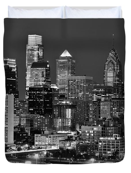 Philadelphia Skyline At Night Black And White Bw  Duvet Cover by Jon Holiday