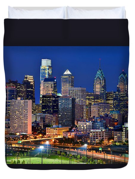 Philadelphia Skyline At Night Duvet Cover by Jon Holiday