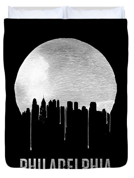 Philadelphia Skyline Black Duvet Cover by Naxart Studio