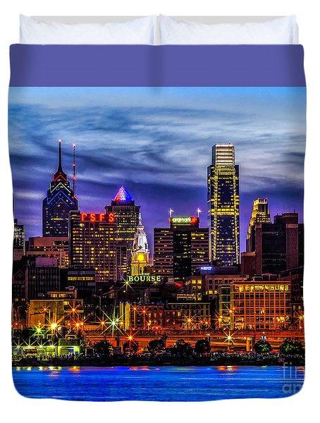Duvet Cover featuring the photograph Philadelphia Skyline by Nick Zelinsky