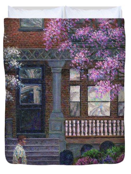 Philadelphia Street In Spring Duvet Cover