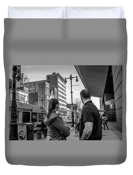 Duvet Cover featuring the photograph Philadelphia Street Photography - Dsc00248 by David Sutton