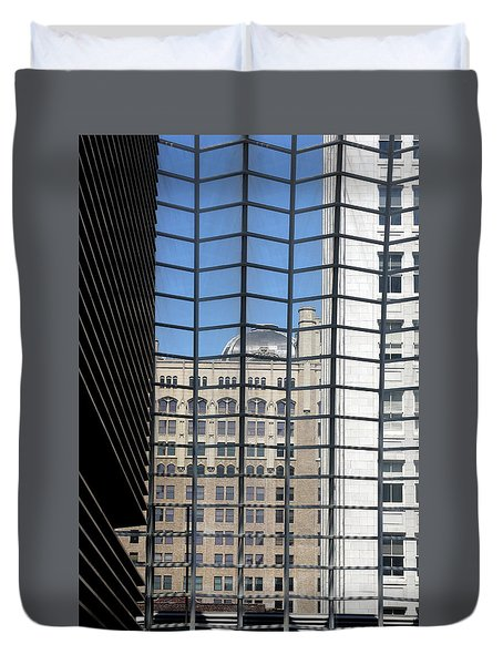 Duvet Cover featuring the photograph Philadelphia Through A Window by Emanuel Tanjala