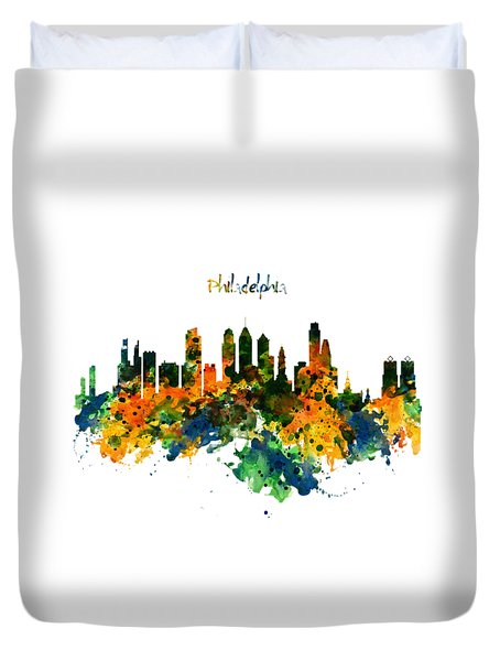 Philadelphia Watercolor Skyline Duvet Cover