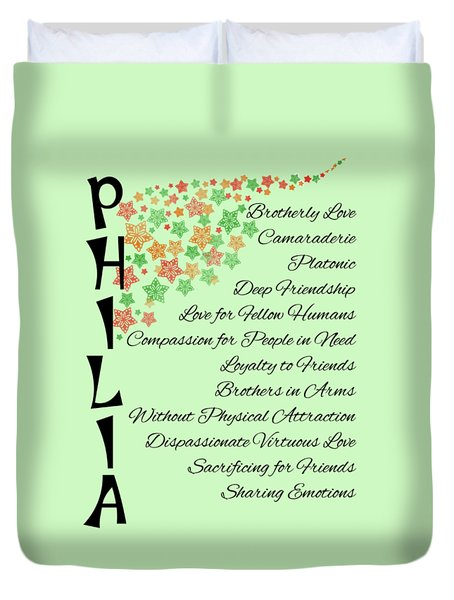 Philia Brotherly Love Duvet Cover