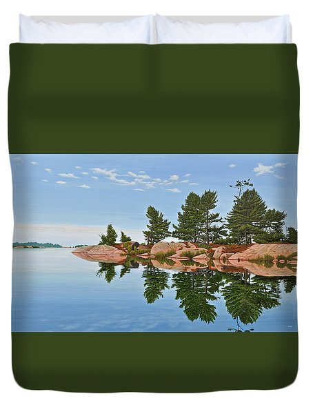 Duvet Cover featuring the painting Philip Edward Island by Kenneth M Kirsch