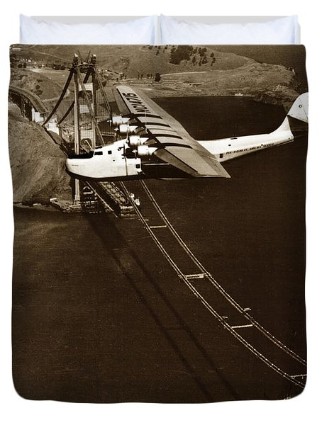 Philippine Clipper A Pan Am Clipper Over The Golden Gate Bridge  1935 Duvet Cover