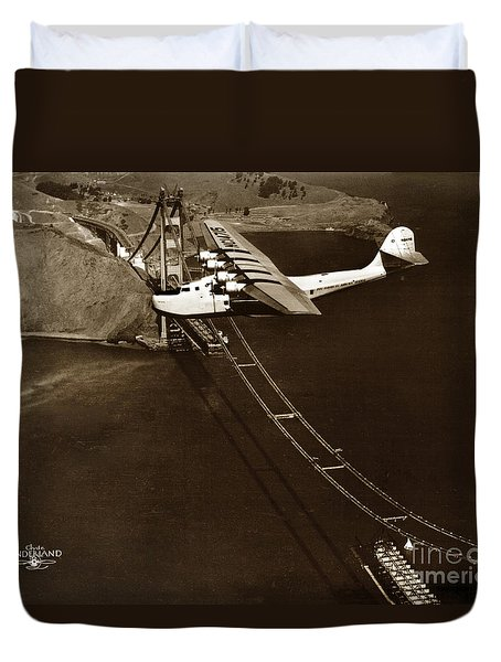 Philippine Clipper A Pan Am Clipper Over The Golden Gate Bridge  1935 Duvet Cover