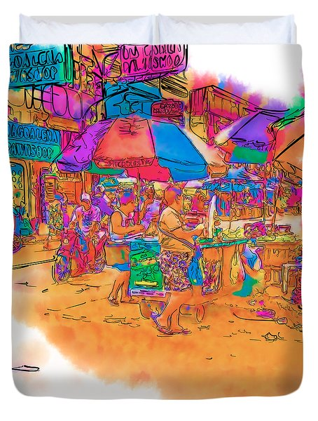 Philippine Open Air Market Duvet Cover