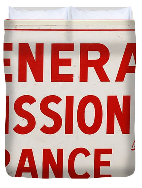 Phillies General Admission Sign From Connie Mack Stadium Duvet Cover by Bill Cannon