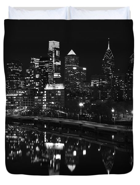 Philly And The Schuylkill Bw Duvet Cover