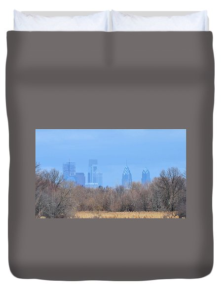 Philly From Afar Duvet Cover by Kathy Eickenberg