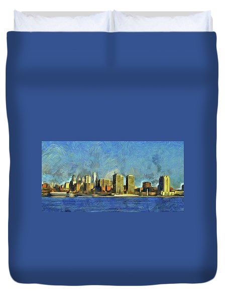 Duvet Cover featuring the mixed media Philly Skyline by Trish Tritz