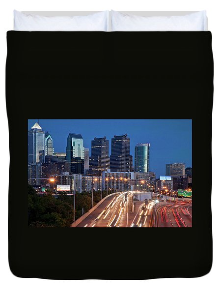 Duvet Cover featuring the photograph Philly Skyline With Highways by Matthew Bamberg