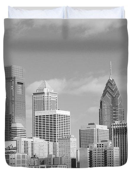 Philly Skyscrapers Black And White Duvet Cover