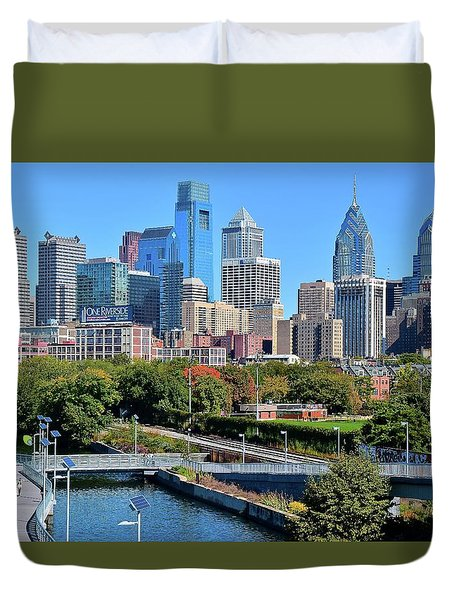Duvet Cover featuring the photograph Philly With Walking Trail by Frozen in Time Fine Art Photography