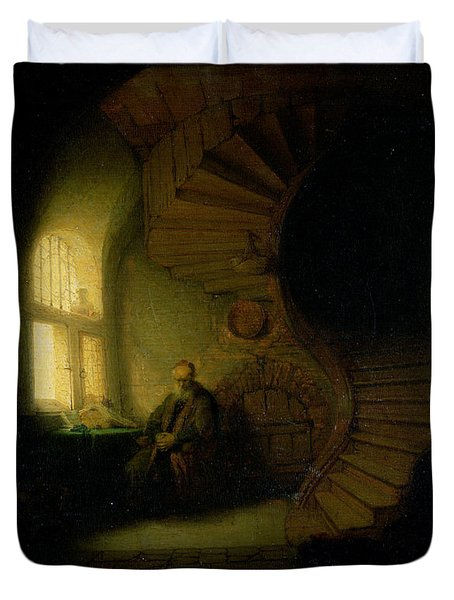 Philosopher In Meditation Duvet Cover by Rembrandt