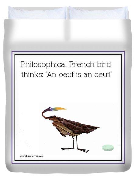 Philosophical Bird Duvet Cover