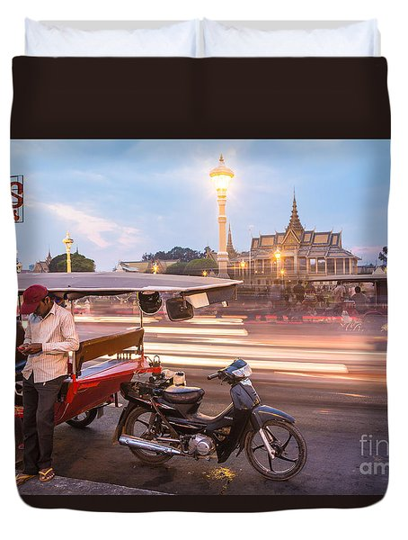 Phnom Penh Tuk Tuk Duvet Cover