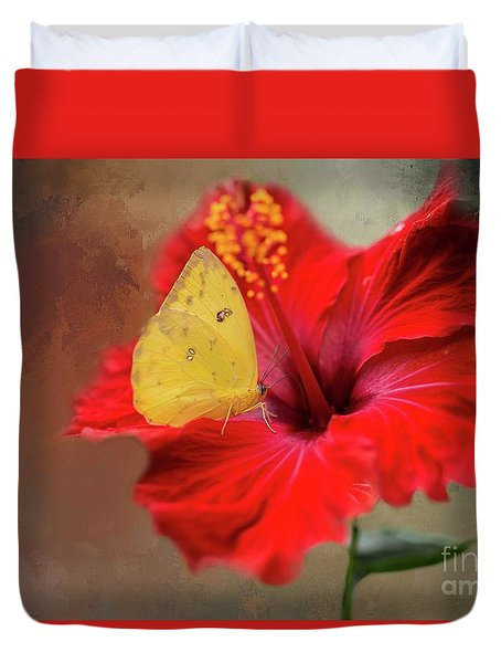 Phoebis Philea On A Hibiscus Duvet Cover