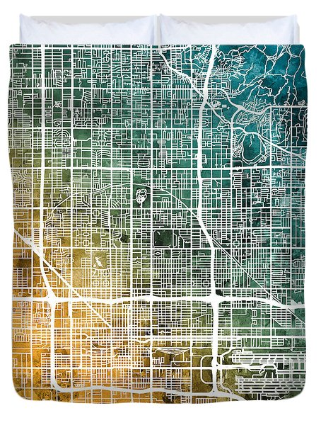 Phoenix Arizona City Map Duvet Cover