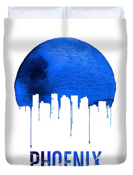 Phoenix Skyline Blue Duvet Cover by Naxart Studio