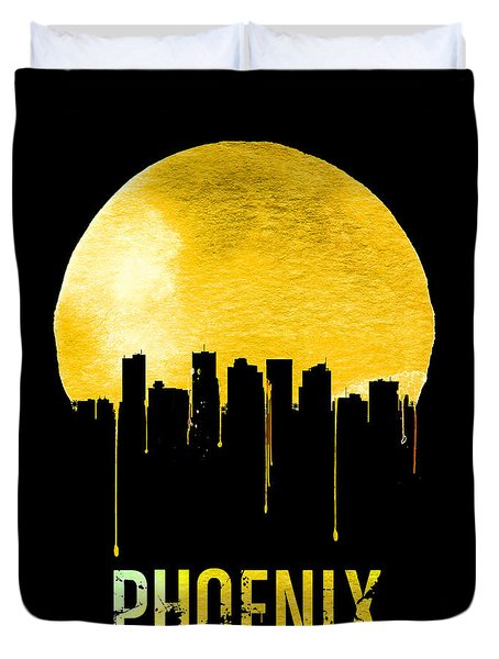 Phoenix Skyline Yellow Duvet Cover by Naxart Studio