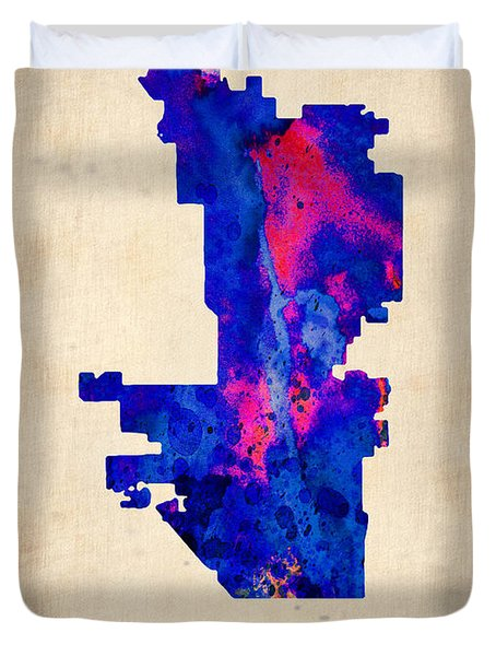 Phoenix Watercolor Map Duvet Cover