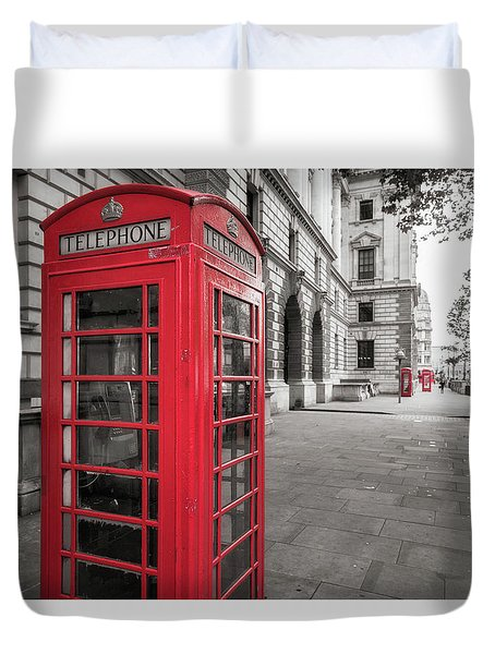 Phone Booths In London Duvet Cover